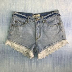 Free People Cut Off Denim & Lace Shorts Size 25